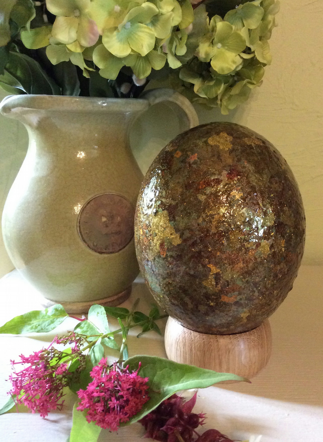 Hand Decorated Ostrich Egg No 2, Dragon Egg