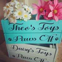 Personalised Dog Toy Crate Box Storage. available in any colour
