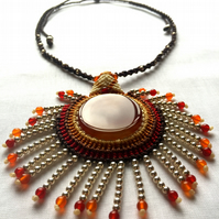 Macrame Natural Agate Gemstone With Carnelian Beads Necklace Pendant Jewellery