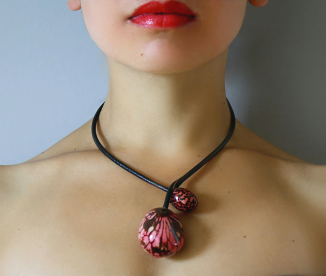 Chunky Necklace, Statement Necklace, Pink Tagua Chocker, Vegetable ivory Choker