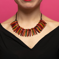Chunky Necklace, Statement Necklace, Multicolour Earth Colours, Multicolour Neck
