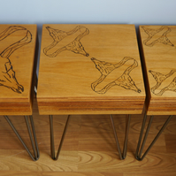 Steer Skulls Layered Ply Wood Side Tables  One Of A Kind