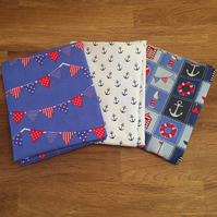 Set of 3 Nautical Fat Quarters