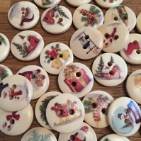 Wooden Christmas Buttons