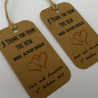 Thank you wedding favour tag, from the new Mr and Mrs