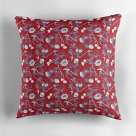 Scattered Blooms Cushion in Red - 60cm Square