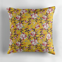 Stars and Stripes Linen Cushion in Mustard - 60cm Square