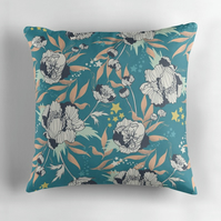 Stars and Stripes Linen Cushion in Teal - 60cm Square