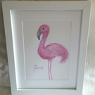 watercolour painting flamingo