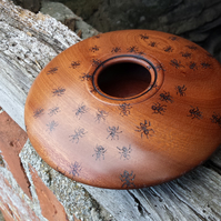 Sapele bowl with pyrography.