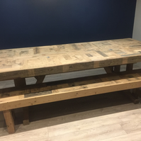 Tomer 6' Handcrafted refectory table and benches made from reclaimed wood