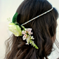 Crystal Bohemian Bridal Hair Band with Ivory and Pink Silk Flowers