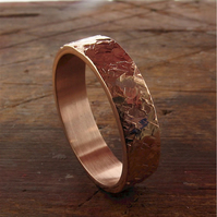 Rose gold wedding ring, mans heavy flat Rustic Hammered style-