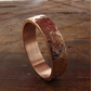 Rose gold wedding ring, mans heavy flat Rustic Hammered style.