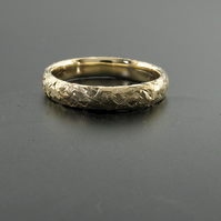 Forged hammered wedding ring an organic textured wedding band in yellow gold-