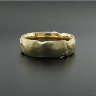 Cinder Design 6mm wedding ring handmade rustic solid 18ct gold-