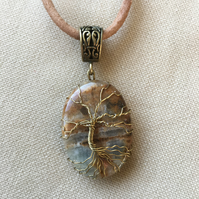 Fancy Agate Tree of Life Pendant