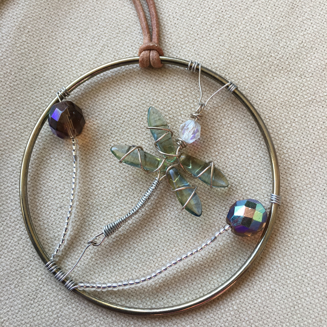 Dragonfly Wire and Bead Hanging Decoration
