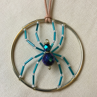 Blue Spider Wire and Bead Hanging Decoration