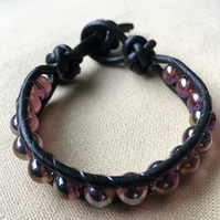 Purple Glass Beaded and Black Leather Wrap Bracelet
