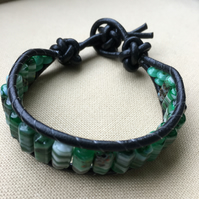 Green Glass Beads and Black Leather Wrap Bracelet