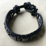 Hematite and Black Leather Wrap Bracelet