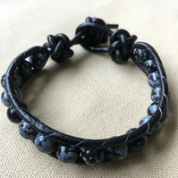 Snowflake Obsidian and Black Leather Wrap Bracelet