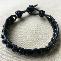 Faceted Black Beads and Black Leather Wrap Bracelet