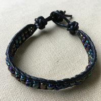 Purple and Green Seed Bead and Black Leather Wrap Bracelet