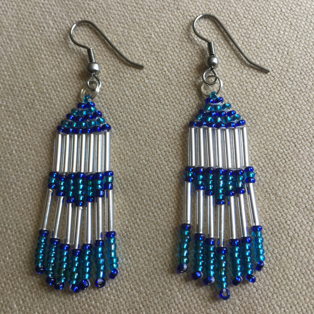 Blue and Silver Native American Style Beaded Earrings with Surgical Steel Hooks