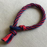 Cotton Kumihimo Bracelet in Red and Navy Blue