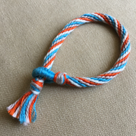 Cotton Kumihimo Bracelet in Blue White Tan and Orange