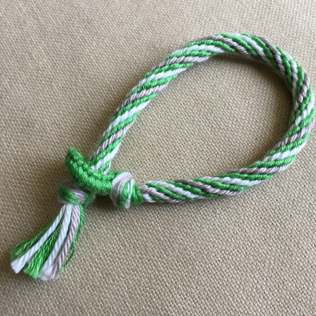Cotton Kumihimo Bracelet in Green White and Tan
