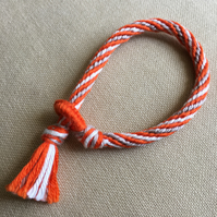 Cotton Kumihimo Bracelet in Orange White and Tan