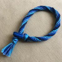 Cotton Kumihimo Bracelet in Blues
