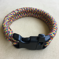 Mens Multicoloured Paracord Fishtail Weave Survival Bracelet with Buckle