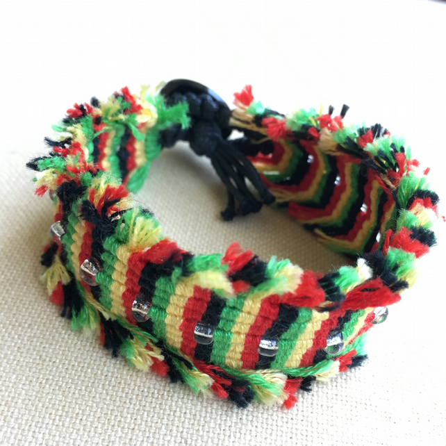 Boho Macrame Bracelet In Rasta Colours