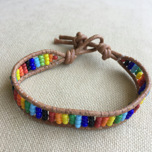 Multicoloured Seed Bead And Leather Wrap Bracelet