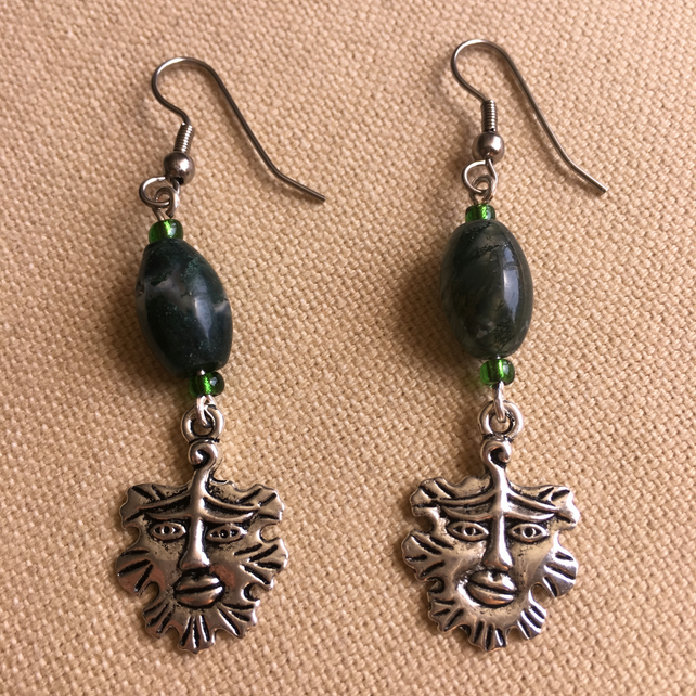 Green Man Earrings With Moss Agate And Seed Beads And Surgical Steel Hooks
