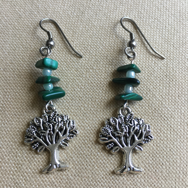 Tree Of Life Earrings With Malachite And Seed Beads And Surgical Steel Hooks