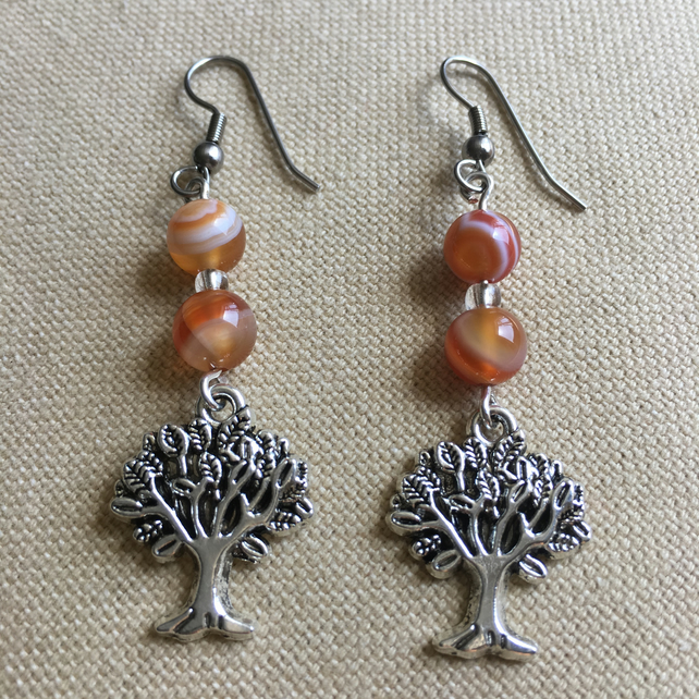 Tree Of Life Earrings With Carnelian And Seed Beads And Surgical Steel Hooks