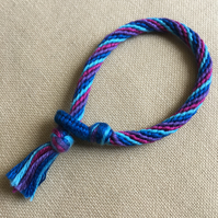 Cotton Kumihimo Bracelet in Blues Pink and Purple