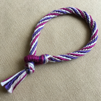 Cotton Kumihimo Bracelet in Tan White Pink and Purple