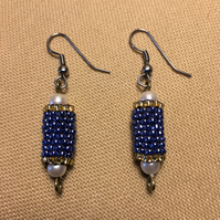 Handmade Beaded Tube Dangle Earrings In Blue And Gold With Surgical Steel Hooks
