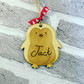 Christmas personalised tree decoration penguin engraved
