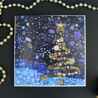 3 Christmas Tree cards, Contemporary Bead Embroidery