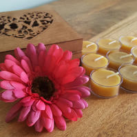 9 x Handmade, natural, 100% pure beeswax tealights, in a wooden gift box