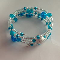 Beaded multi wire bracelet