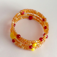 Memory wire multi beaded bracelet