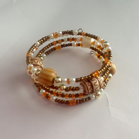 Multi beaded memory wire bracelet